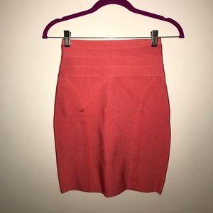 Coral Body Con Mini Skirt